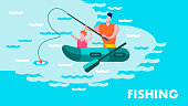 Father Teaching Son Fishing Lettering Motivate Flat Banner Happy Parents Day Recreation on Fresh Air Together Inspirational Landing Page with Cartoon Family on Boat River Backdrop Vector Illustration