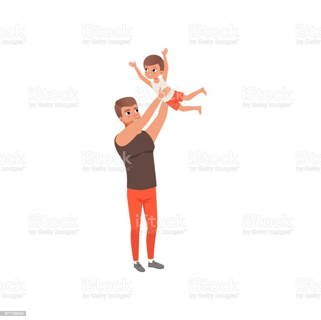 Vater Seinen Sohn In Die Luft Werfen Vector Liebender Vater Und Kind ...