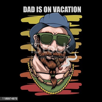 istock Father Vacation retro vector illustration 1189974975