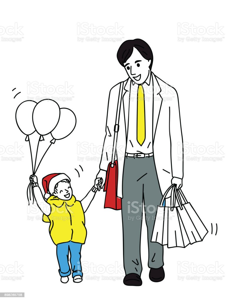 Father walking home with his child vector art illustration