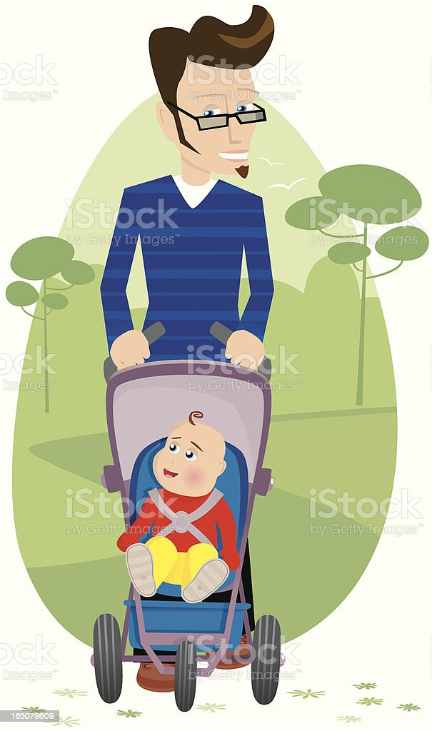 Father walking with baby in pushchair royalty-free stock vector art