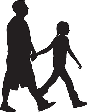Father Walking With Daughter Silhouette
