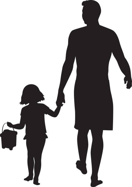 Father Walking with Daughter Silhouette vector art illustration