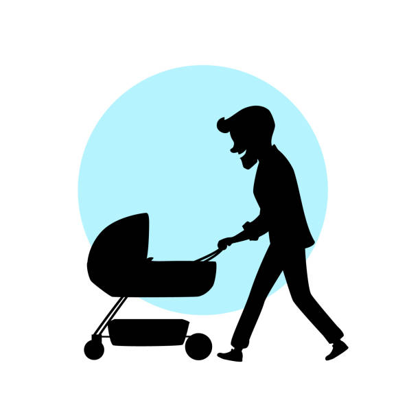 father walking with newborn child in a pram vector illustration cartoon silhouette scene father walking with newborn child in a pram vector illustration cartoon silhouette scene stay at home father stock illustrations