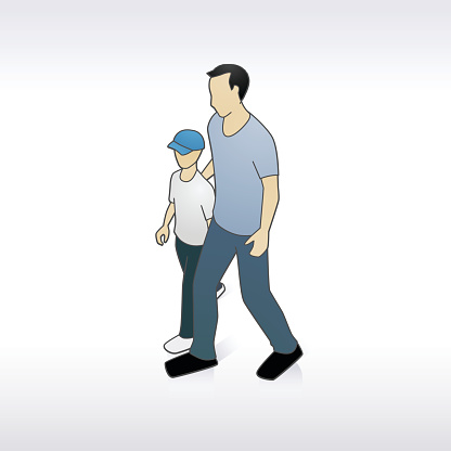 Father Walking With Son Illustration