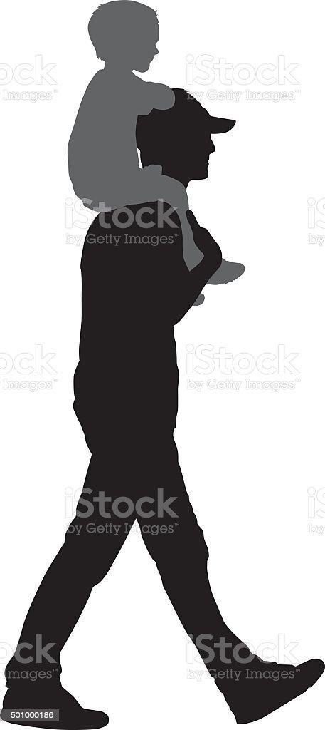 Père marche avec Son fils sur les épaules. - Illustration vectorielle