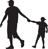 Father Walking with Son Silhouette