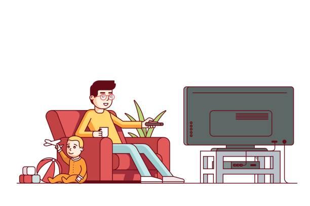 ilustrações de stock, clip art, desenhos animados e ícones de father watching tv and looking after baby son - tv e familia e ecrã