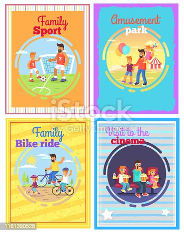 istock Father with Amusing with Kids Set of Four Cards 1161390528