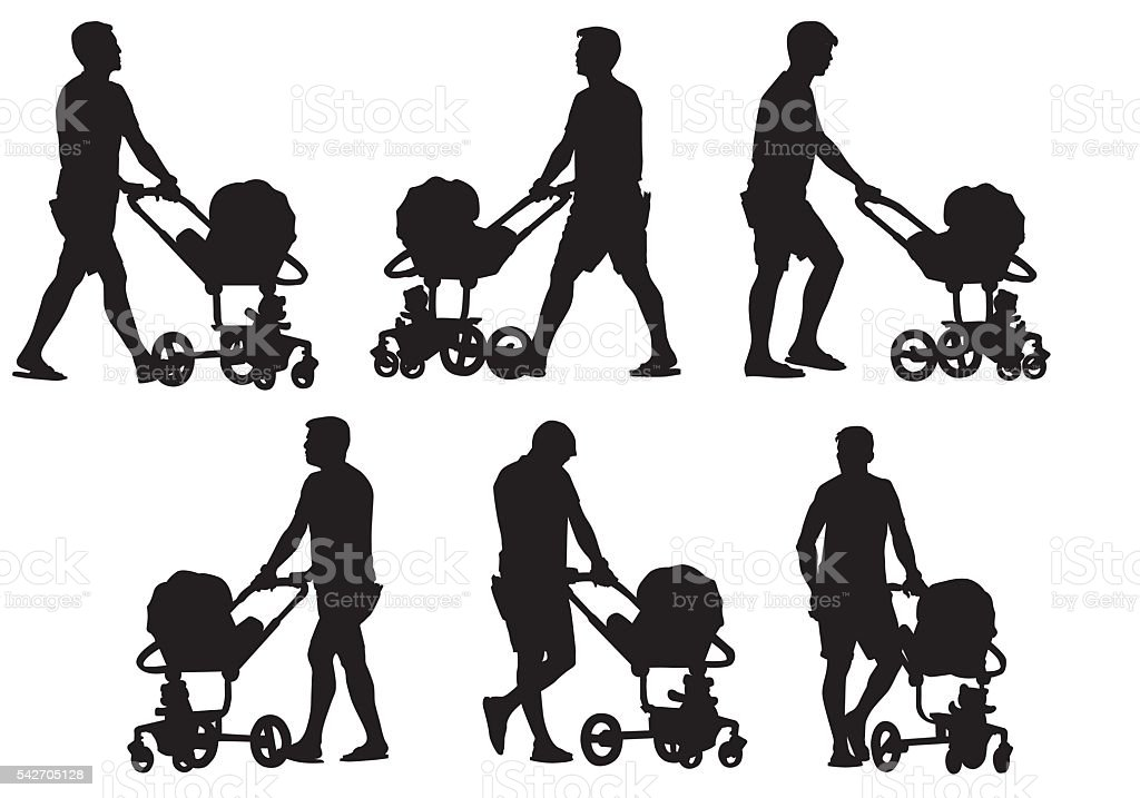 father with baby and pram vector art illustration