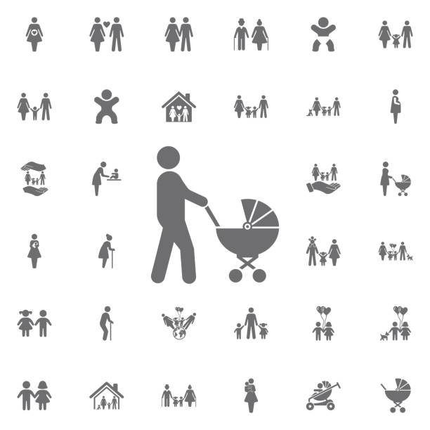 Father with baby carriage vector icon. Set of family icons Father with baby carriage vector icon on white background. Set of family icons baby carriage stock illustrations