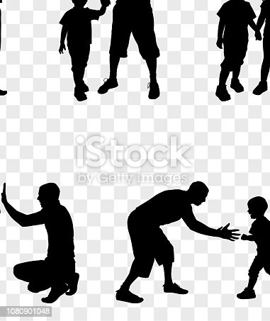 Father with Children Silhouette