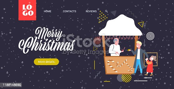 father with daughter buying lollipop candy in sweetmeats stall christmas market winter fair concept happy new year merry xmas holidays greeting card full length sketch horizontal vector illustration