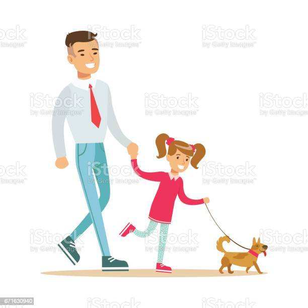 Father with his daughter walking with their small dog colorful vector id671630940?b=1&k=6&m=671630940&s=612x612&h=lqau3bpc uhk5ioe9nb9jojssuzvi kejfjnns8zrzy=