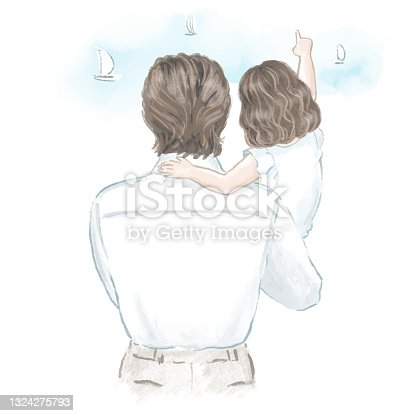 istock Father with his little daughter hand drawn illustration 1324275793