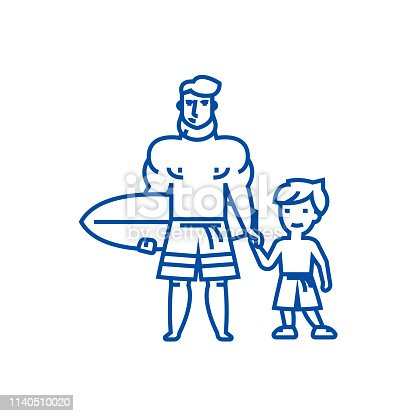 istock Father with son on  line icon concept. Father with son on  flat  vector symbol, sign, outline illustration. 1140510020
