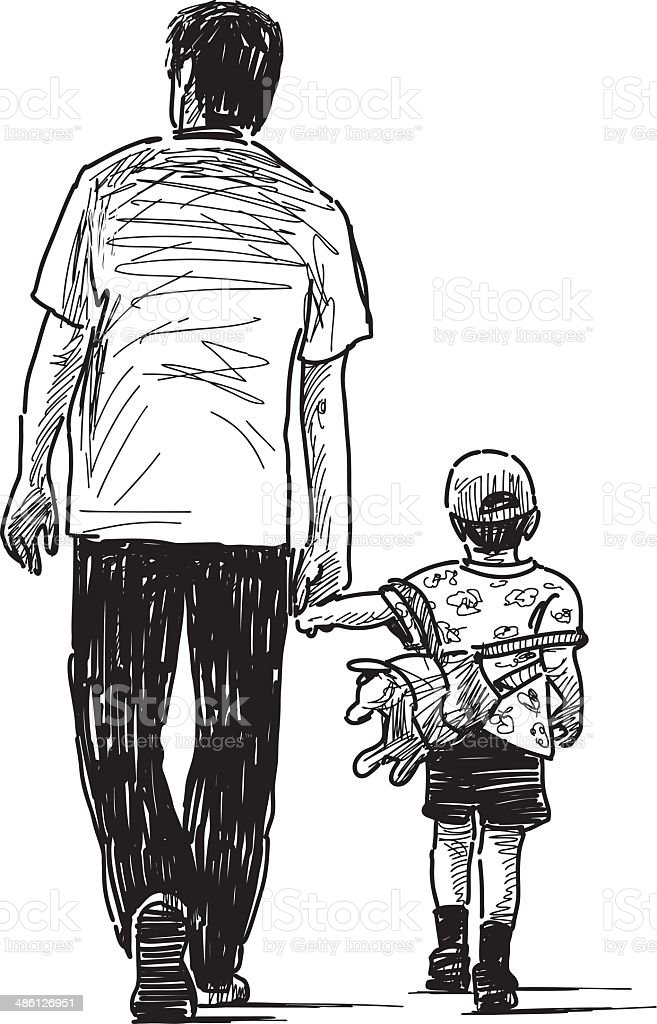 father with son vector art illustration