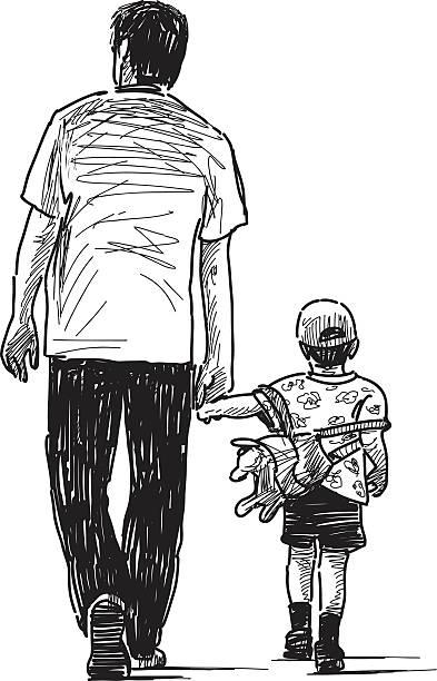 Vater mit Sohn – Vektorgrafik