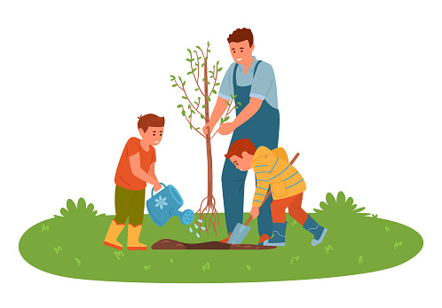 Father With Sons Planting A Tree In The Garden