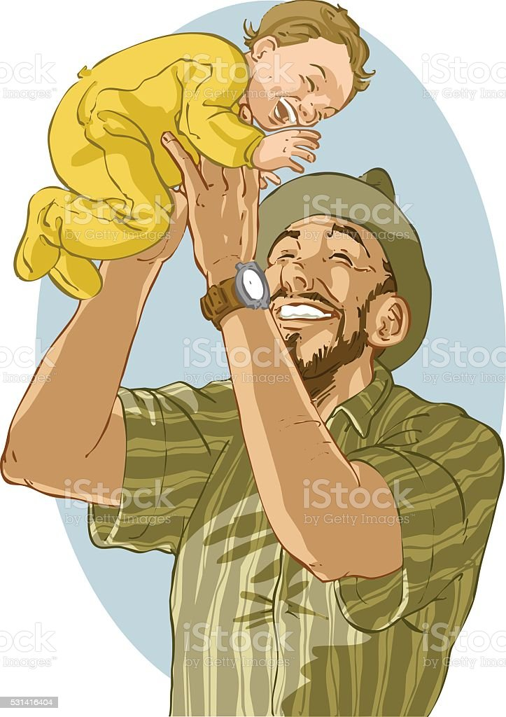 father_and_son vector art illustration