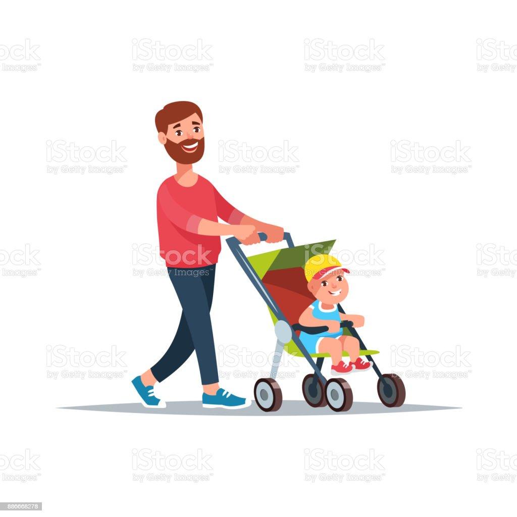 Vaterschaft und Kinderbetreuung – Vektorgrafik