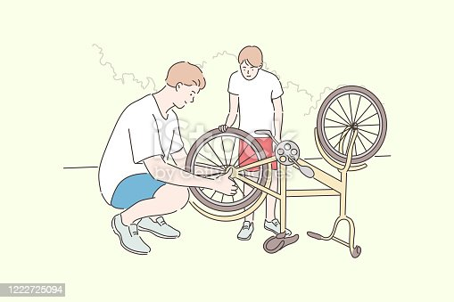 Fatherhood, cycling, childhood, repair concept. Cartoon characters young man father helps boy kid son teenager repairing bike wheel. Family care and active summer recreation lifestyle illustration.