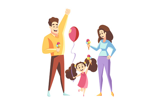 Fatherhood, motherhood, family, holiday concept. Young man father and woman mother with ice cream balls with child kid daughter with air baloon standing together. Leisure time happy household vector.