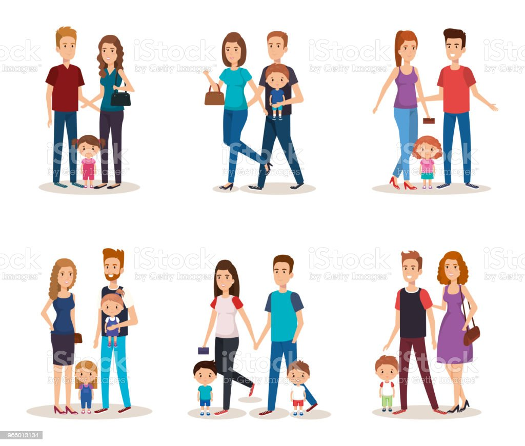 fathers and mothers with kids - Royalty-free Adult stock vector