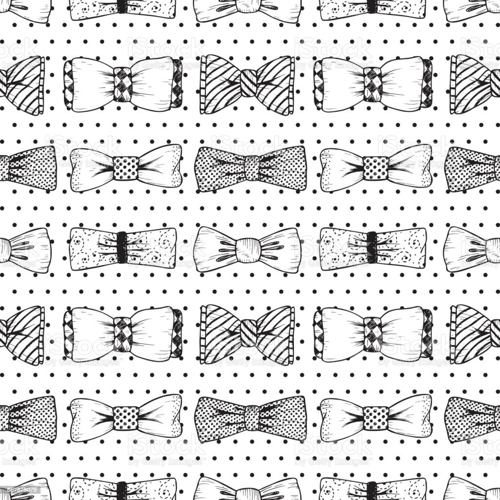 Father's Day background. Hand drawn Bow Ties Vector Seamless pattern. Men's Accessories. vector art illustration