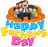 Father's Day Background with father and kids