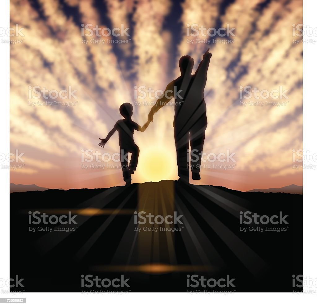 Father's Day background[Father and child in the sunset] vector art illustration