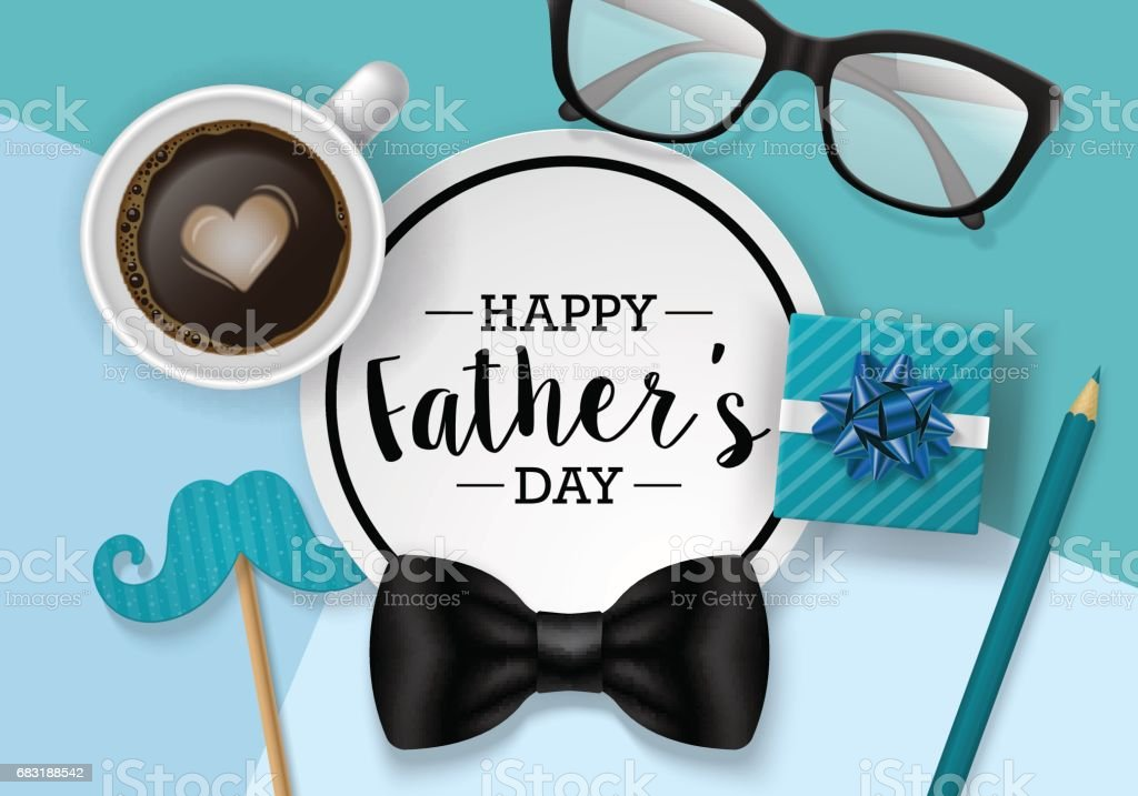 Fathers day banner design with lettering, coffee cup and paper note. Flat lay style vector art illustration
