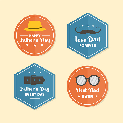Fathers day banner set emblem, vector element happy dad vintage style. Simple flat element isolated on white background. Retro design colorful with typography.