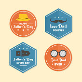 istock Fathers day banner set emblem, vector element happy dad vintage style. Simple flat element isolated on white background. Retro design colorful with typography. 1253410216
