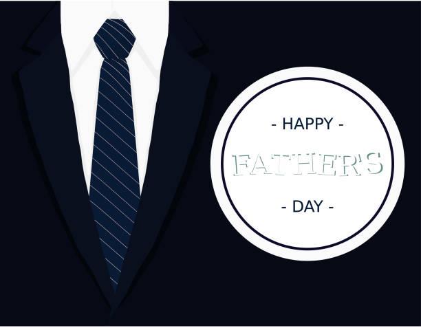 stockillustraties, clipart, cartoons en iconen met vaders dag kalligrafische banner wenskaart met donkerblauwe stropdas licht grijs wit overhemd en marineblauw blazer vectorillustratie - men blazer