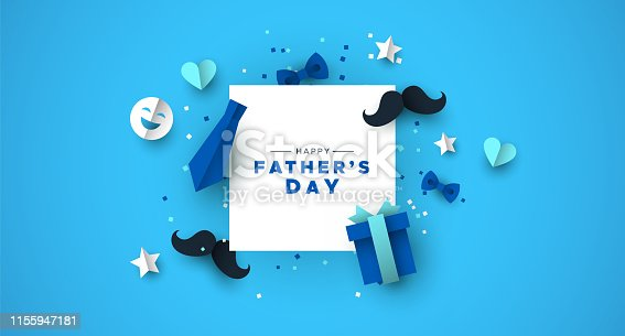 istock Fathers Day card of frame with paper holiday icons 1155947181