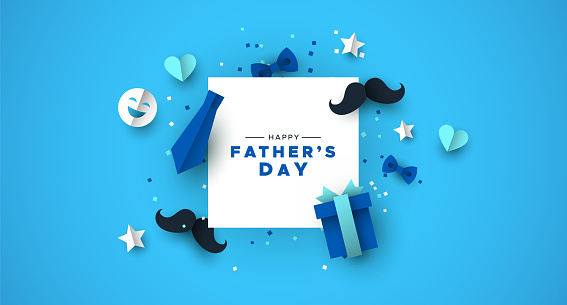 Fathers Day card of frame with paper holiday icons