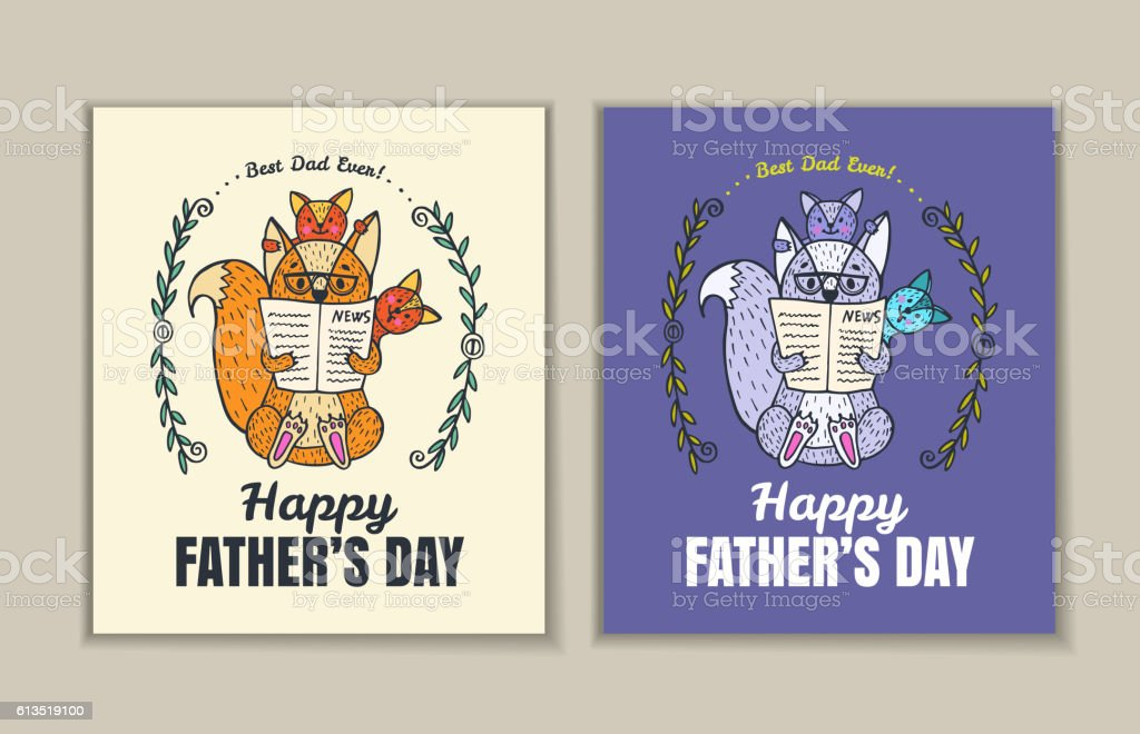 Father's Day card set with fox character family. vector art illustration