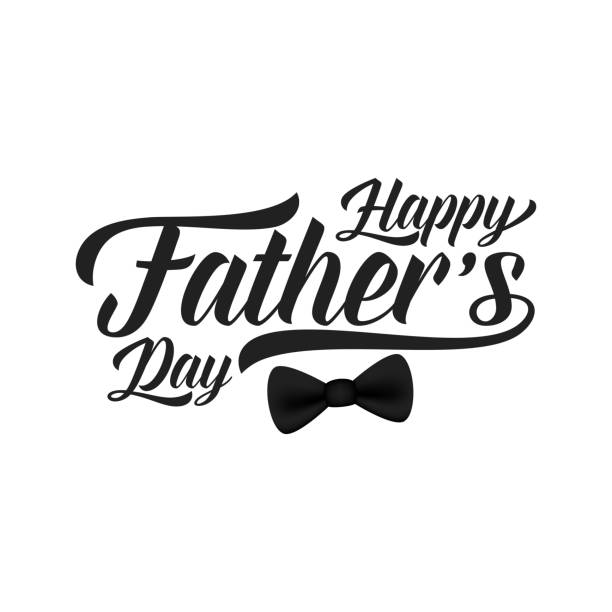 fathers day card. trendy lettering and black bow tie - fathers day stock illustrations, clip art, cartoons, & icons