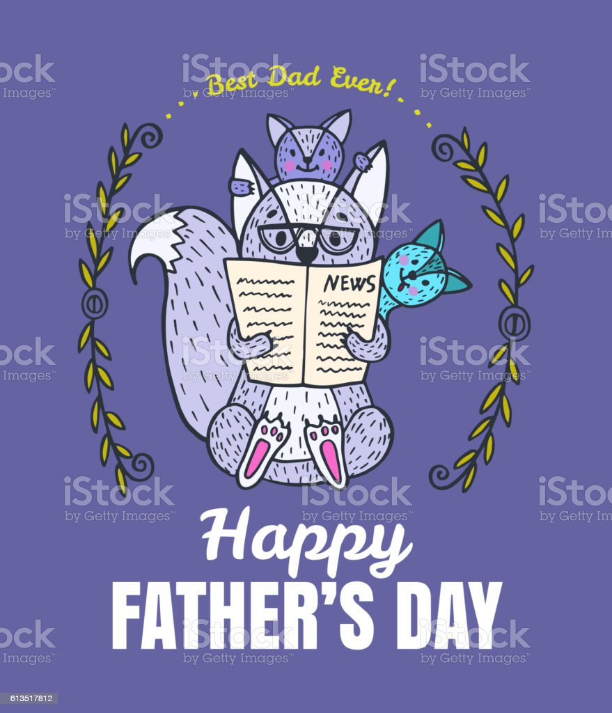 Father's Day card with fox character family. vector art illustration