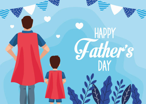 fathers day card with super dad and son characters fathers day card with super dad and son characters vector illustration design fathers day stock illustrations