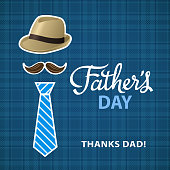 It's time to appreciate and celebrate the Father's Day with mustache, necktie, cap and textile pattern on the background