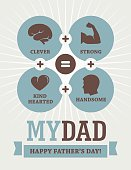 Creative design for Father's Day greeting card, banner or poster with  formula of clever, strong, kind hearted and handsome dad
