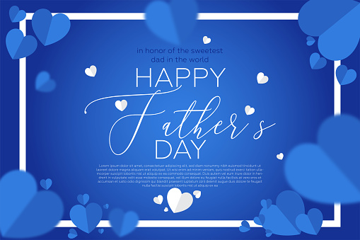 Father's Day design template. Party, brunch, invitation and social media poster design. Blue heart shapes and blue background.