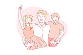Fathers day, fatherhood, holiday concept. A loving young father holds his happy children in his arms. Laughing daughter and son hug their dad. Vector flat design.