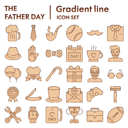 Fathers day flat icon set, mens accessories and gifts symbols collection, vector sketches, logo illustrations, male stuff signs brown gradient pictograms package isolated on white background, eps 10.