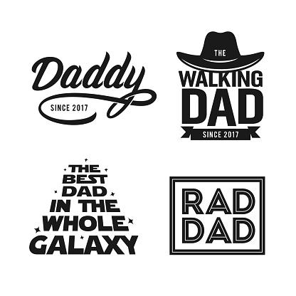 Fathers day gift for dad t-shirt design set. Vector vintage illustration.