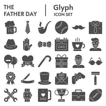 Fathers day glyph icon set, mens accessories and gifts symbols collection, vector sketches, logo illustrations, male stuff signs solid pictograms package isolated on white background, eps 10.