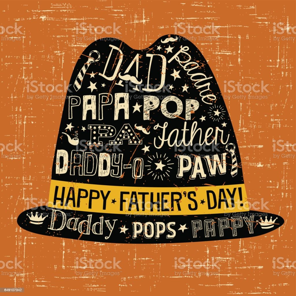Father's Day greeting card. Doodle style fedora with various different nicknames for dad. vector art illustration