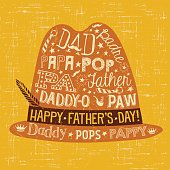 Father's Day greeting card. Doodle style fedora with various different nicknames for dad.